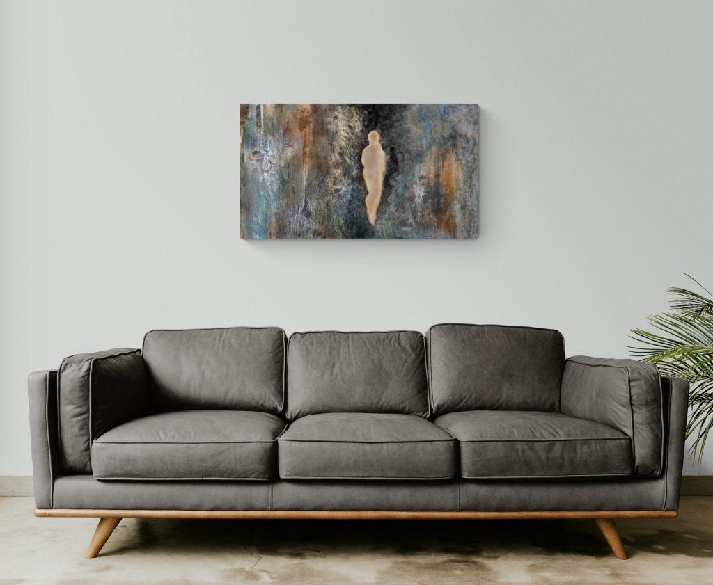 Seconde image de 'Sur la Roche'. Sur la Roche est une œuvre d'art originale et contemporaine créée par Anne Turlais, une artiste vivant dans le sud de la France. Pour ce projet, Anne a choisi de s'inspirer de la falaise de sa région de prédilection, l'Occitanie.