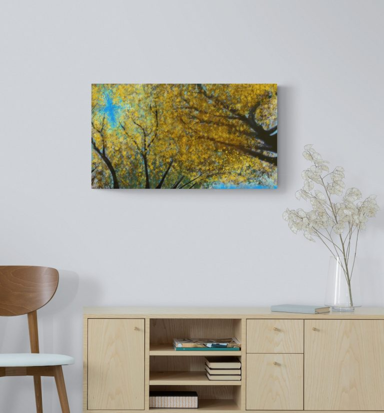 Fourth image of 'Japanese Linden'. Remarkable art print inspired by the pulsating radiance of Japanese Linden golden leaves in Occitanie, France. artist: Anne Turlais - Limited edition of 300. Floral Art Print for sale, printed on Dibond.