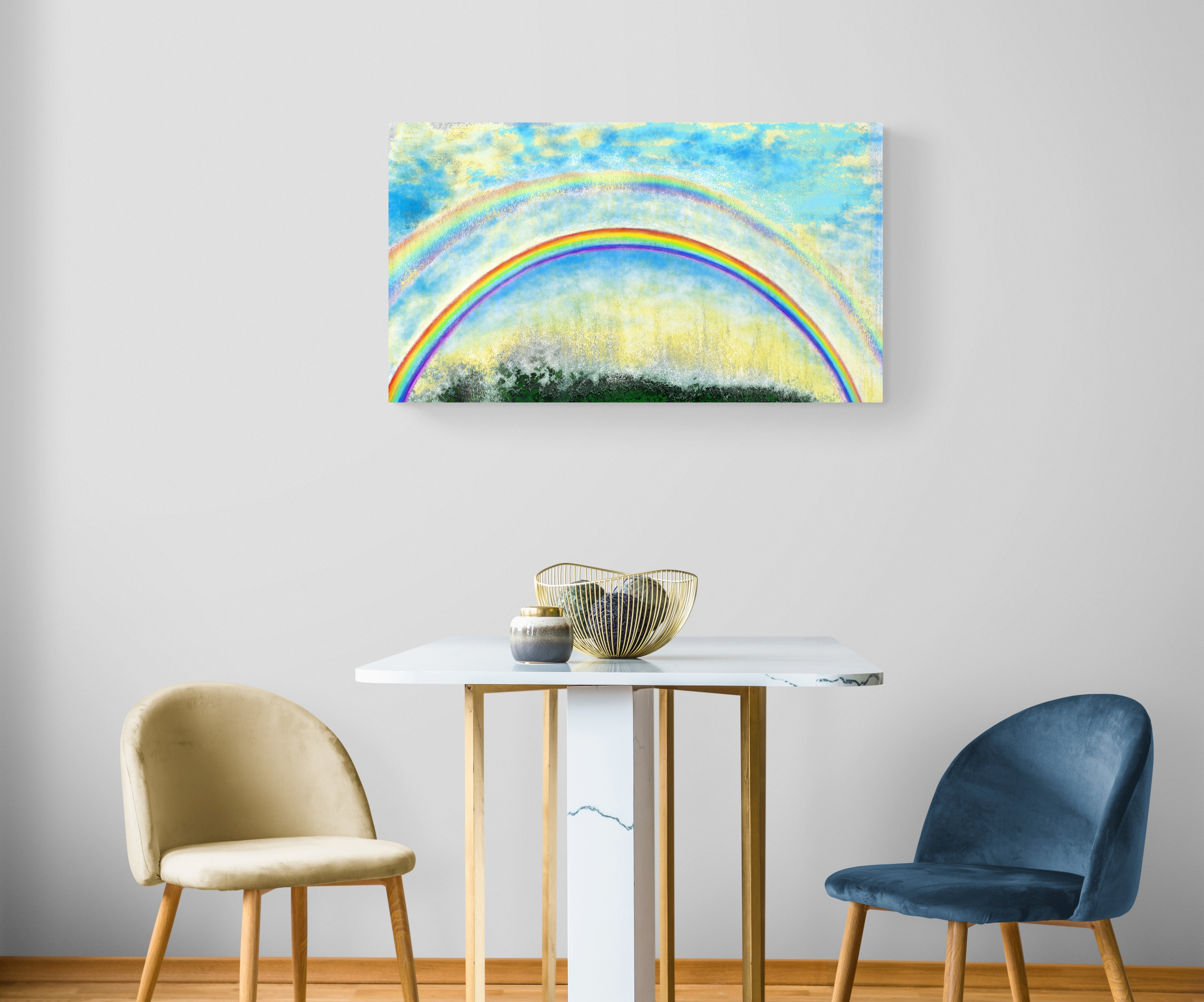 Rainbow Abstract Art - Dazzling art print inspired by a double rainbow seen in the mountains of Occitanie, France. artist: Anne Turlais - Limited edition of 300. Printed on Dibond.