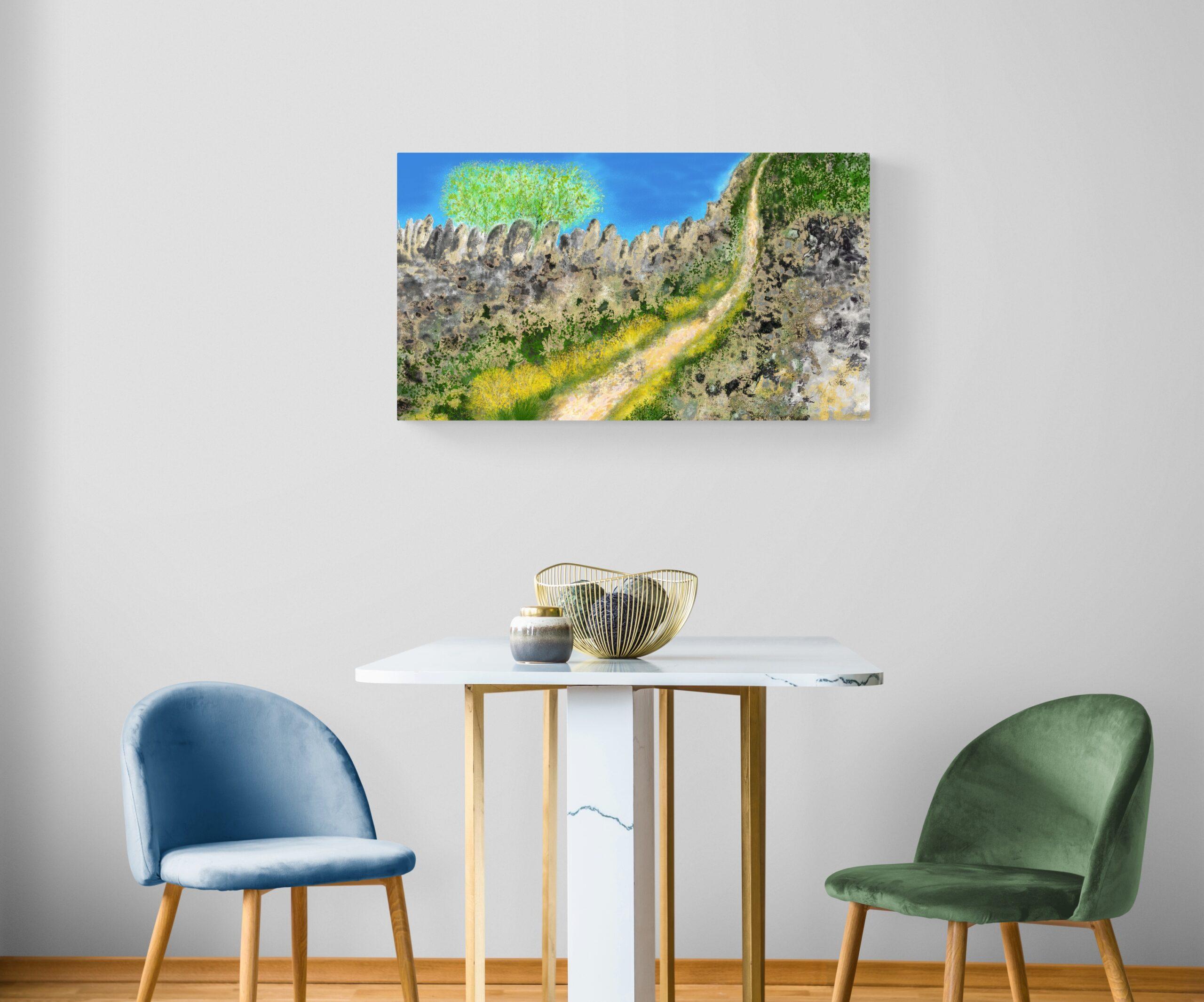 Le Chemin, une peinture révélant un sentier de montagne, est une edition d'art peinte par l'artiste Anne Turlais. Imprimé sur Dibond, il s'agit d'une édition limité à 300 exemplaires.