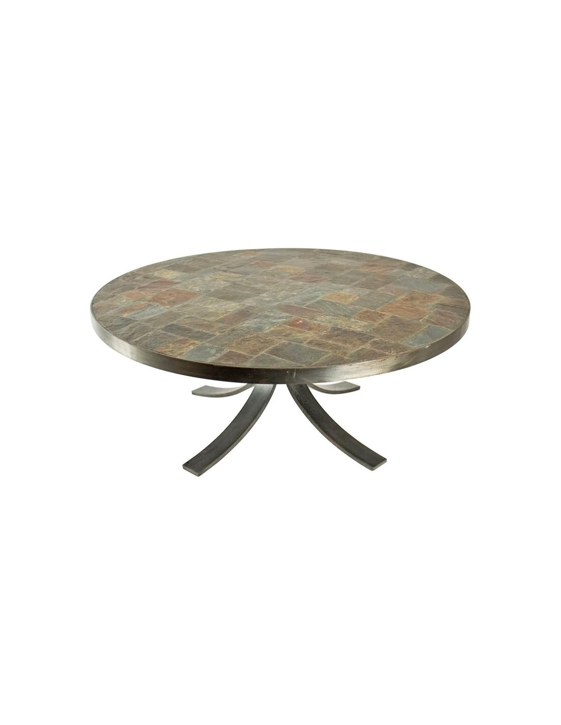 round coffee table in wrought iron and