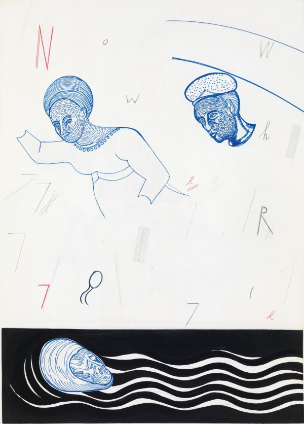 """Jürgen Köhler """"Where are You"""", 2009, Wasserfarbe, Bleistift und Farbstift auf Papier, 108,5 x 78 cm"""