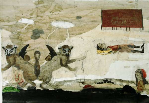Kerstin Grimm: Kinderspiele, 2008, Zeichnungscollage, 118x160cm