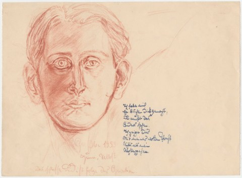 Zeichnung (Selbstportrait) und Text von Uwe Greßmann aus dem Jahre 1953