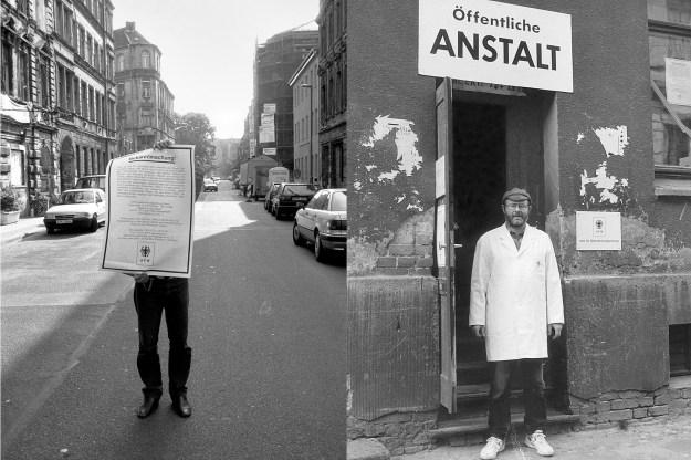 """Foto von Kurt Buchwald """"Amt für Wahrnehmungsstörung"""" 1994, Galerie auf Zeit, Auguststraße / Berlin"""