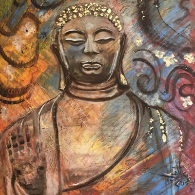 Bouddha aux cheveux d'or, toile de Corinne Trabichet.