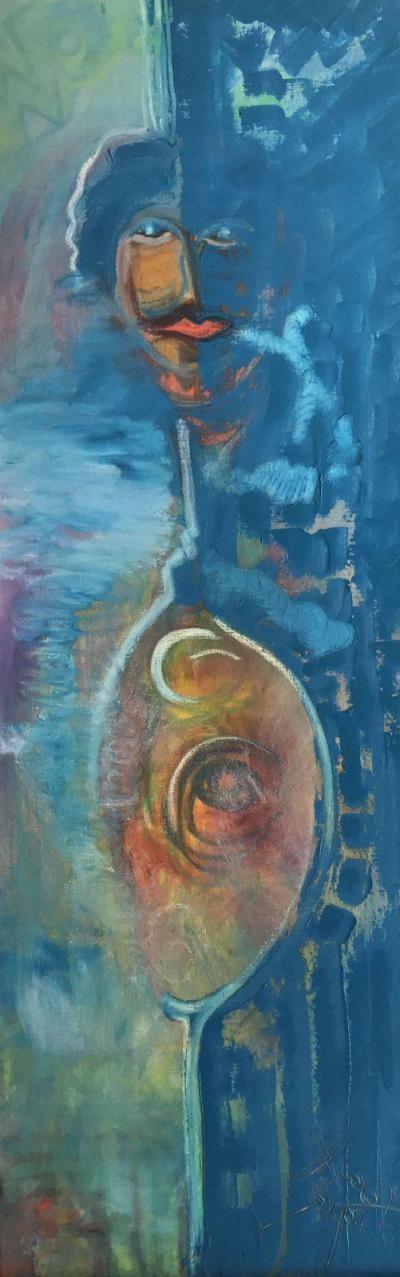 Totem de naissance, une peinture de Corinne Trabichet
