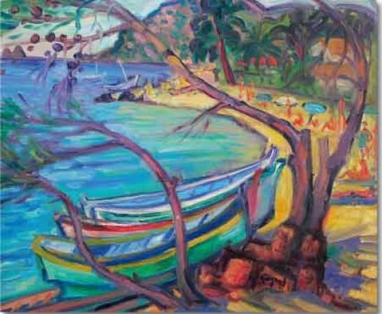 Gerard FAGARD - Barques de pêche sur ponton 73x60 cms