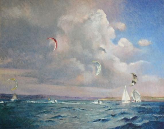 Ronan OLIER - baie de Dz aile de kite et voilier blanc  30F