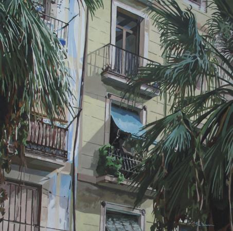 Jacques GODIN - Fenêtre et palmiers