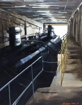 Christoff DEBUSSCHERE -  Le sous-marin à Brest 80F 146x114