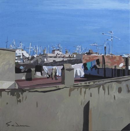 Jacques GODIN - 2016 Les toits de Barcelone (2) 26x26