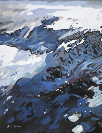 Jacques GODIN - 2020 Glacier arctique, gouache sur papier, 30 x 40 cm