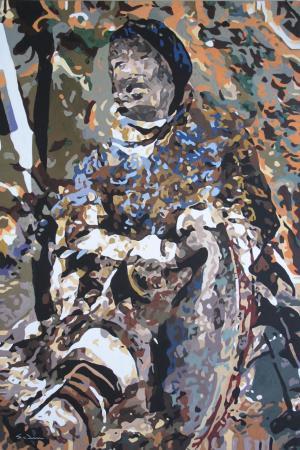 Jacques GODIN - 2020 Danse du tambour, gouache sur papier, 60 x 40 cm