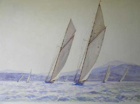 Guy LHOSTIS - Contre-jour dans la rade de St Tropez du soleil et du vent