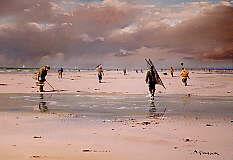 Philippe GIRARDOT - Pêche à pied par temps gris 50 x 34