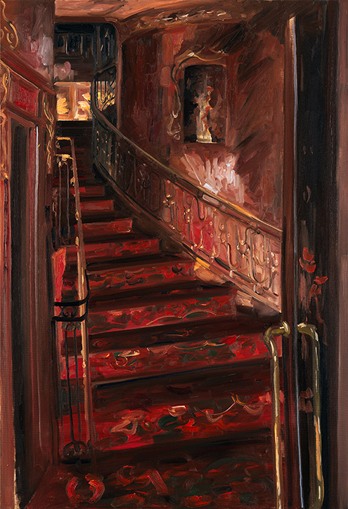 Christoff DEBUSSCHERE - 64 - L'escalier chez Maxim's - 130X89 cm