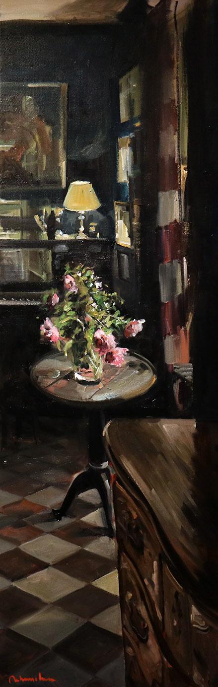Christoff DEBUSSCHERE - 6 - Le bouquet sur le guéridon - 150X50 cm