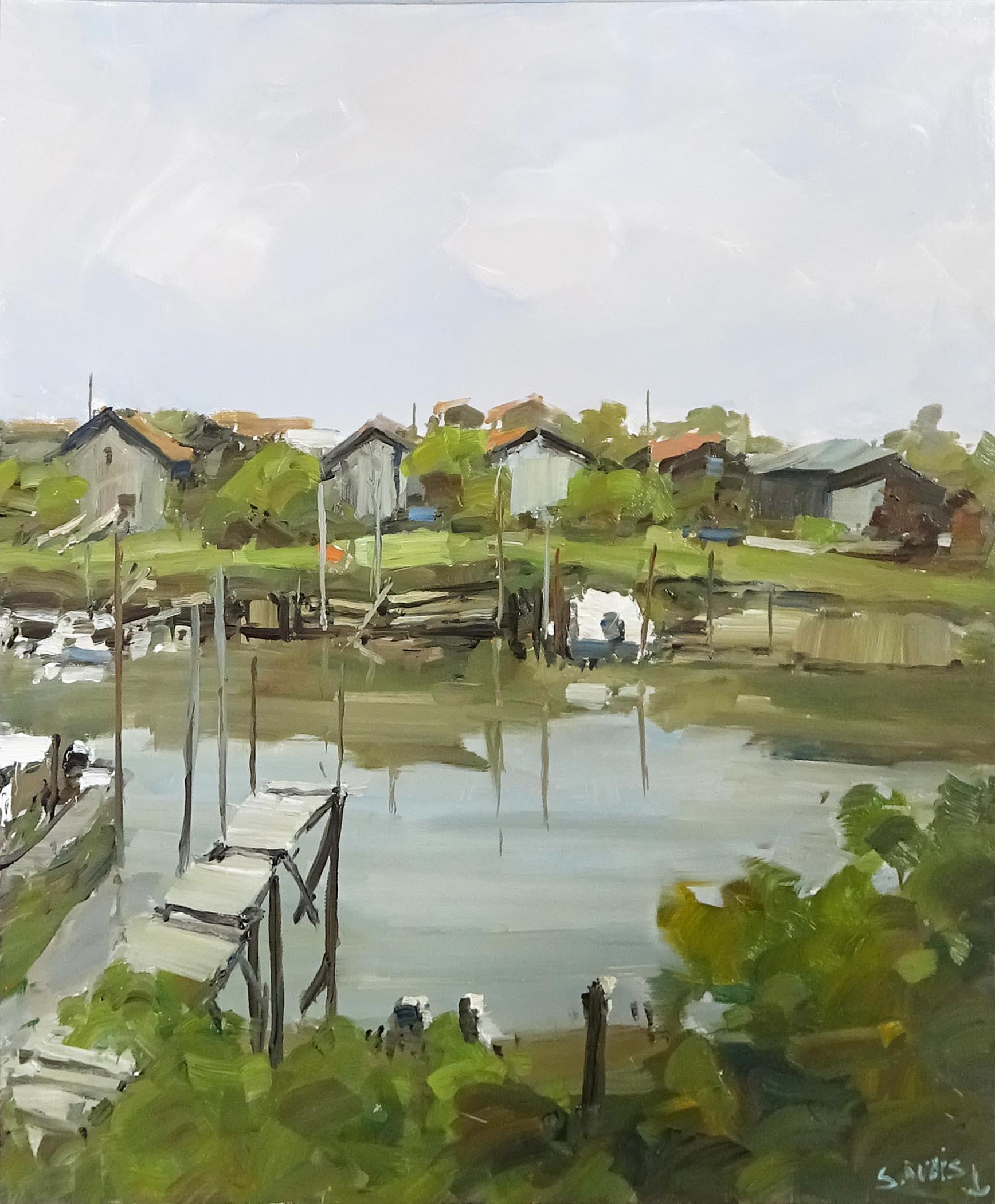 Stéphane RUAIS - n°14 Port de La Teste 12F 61X46cm - Huile sur toile