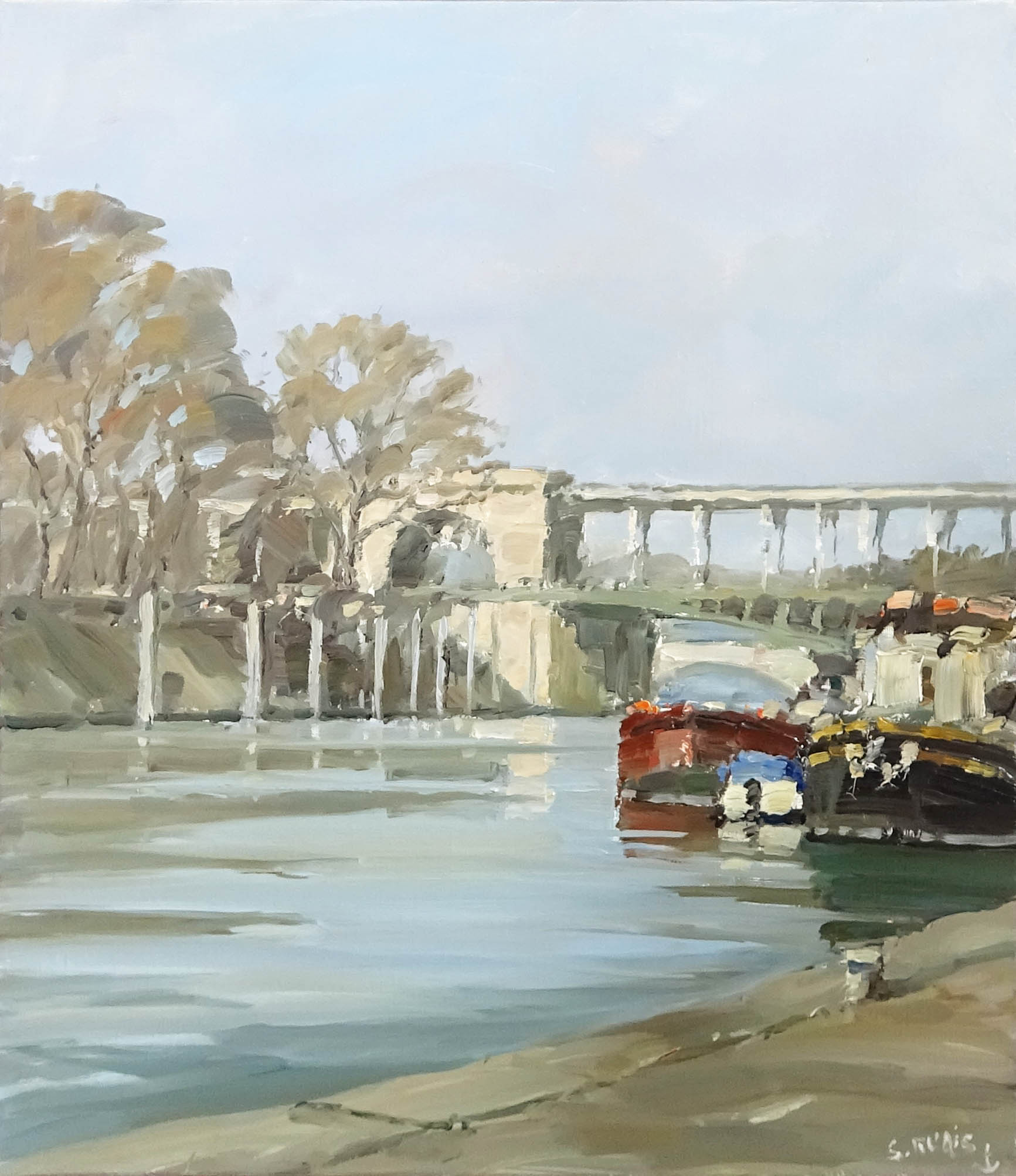 Stéphane RUAIS - n°8 Le Pont Bir Hakeim 10F 55X46cm - Huile sur toile
