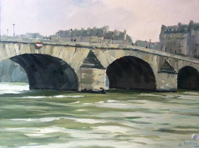Stéphane RUAIS - n°2 Le Pont Royal 9P - 50x40cm - Huile sur toile