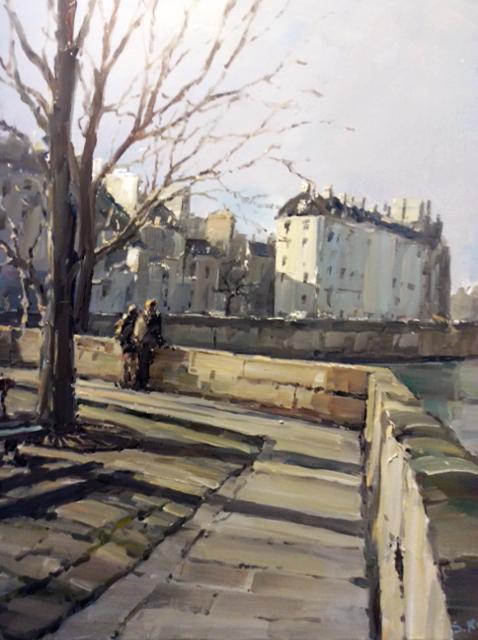 Stéphane RUAIS - n°13 Pointe de l'Ile Saint-Louis 12F 61X46cm - Huile sur toile