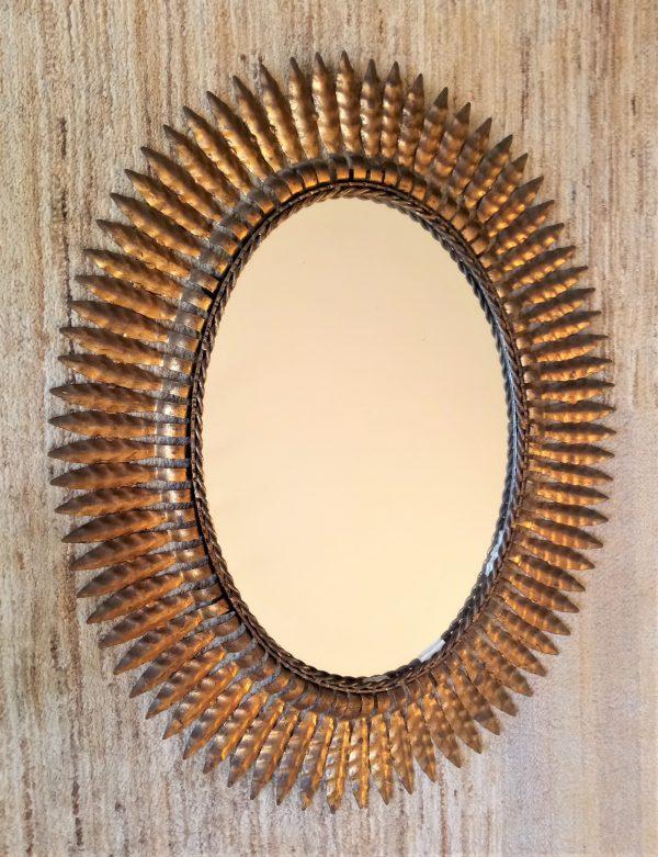 grand miroir soleil metal dore xxeme siecle vintage