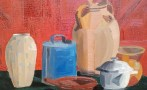 Nature morte rouge aux vases