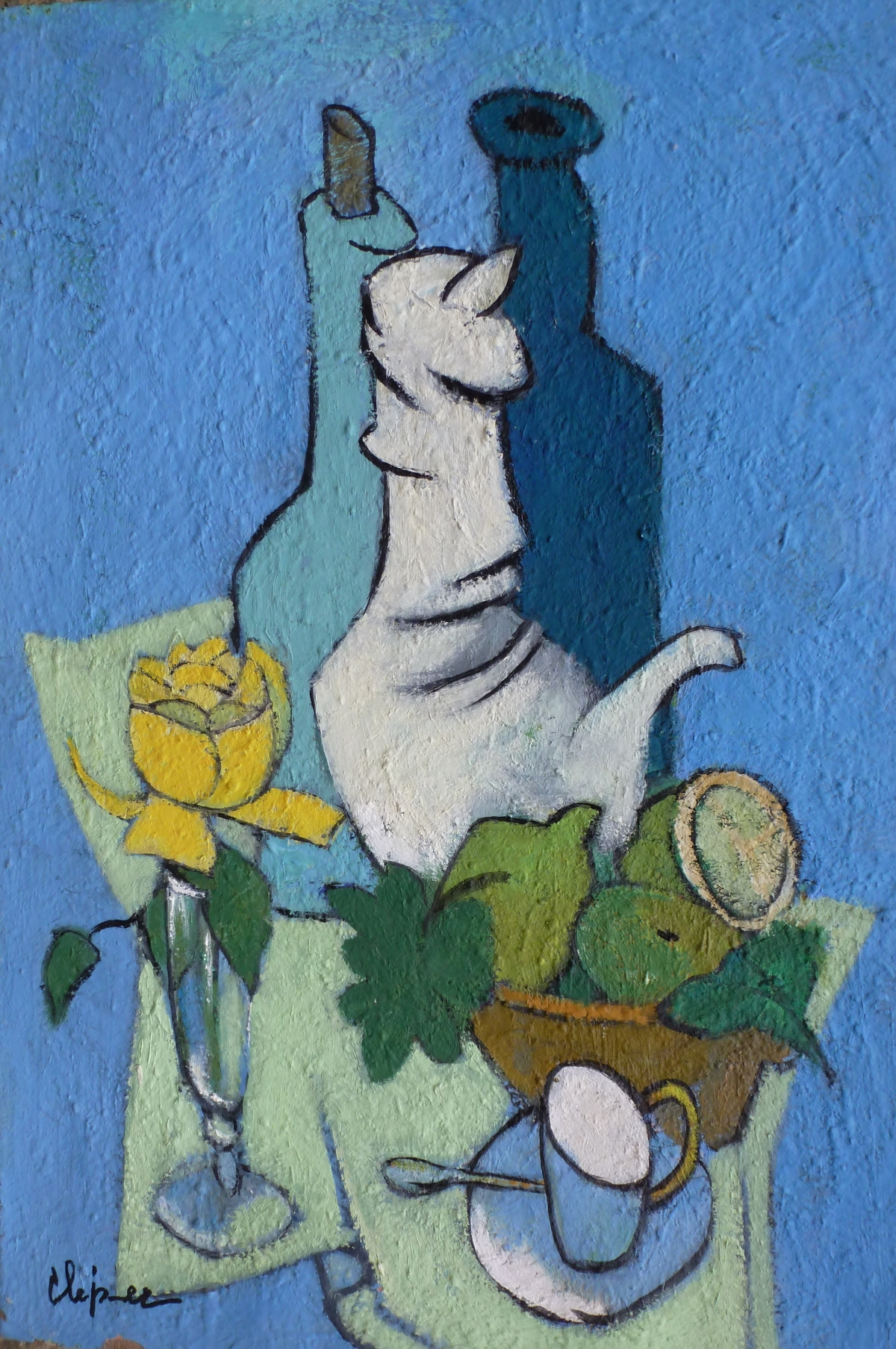 Nature morte bleue à la rose jaune