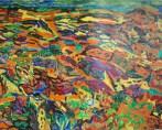 Paysage cloisonné multicolore
