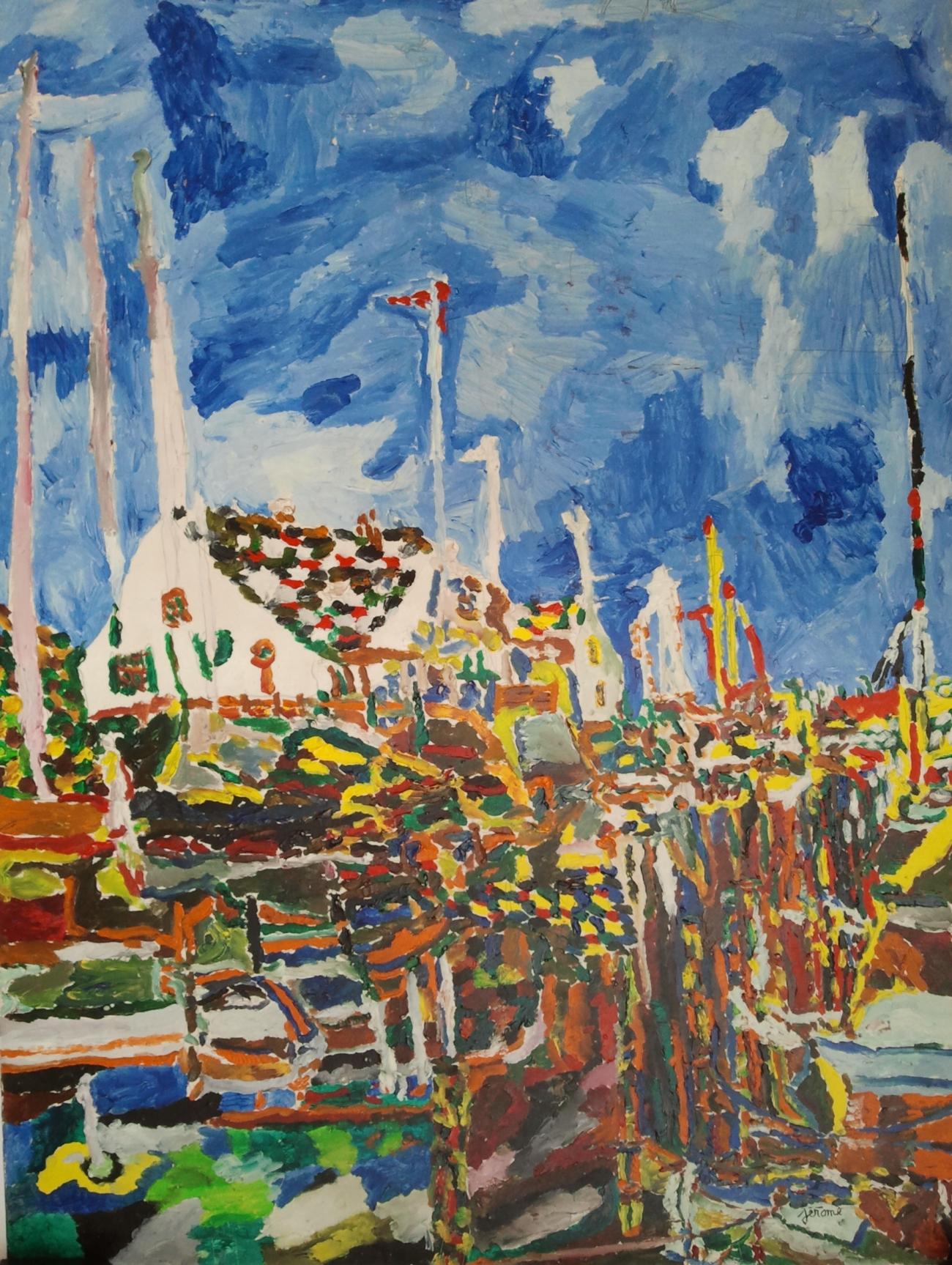jerome pezzillo - Village portuaire sur grand ciel bleu