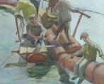 anonyme Pêcheurs assis sur pipeline