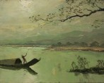 Henri Mege. Matin dans la lagune de Cầu Hai au sud de Hué Annam-Indochine