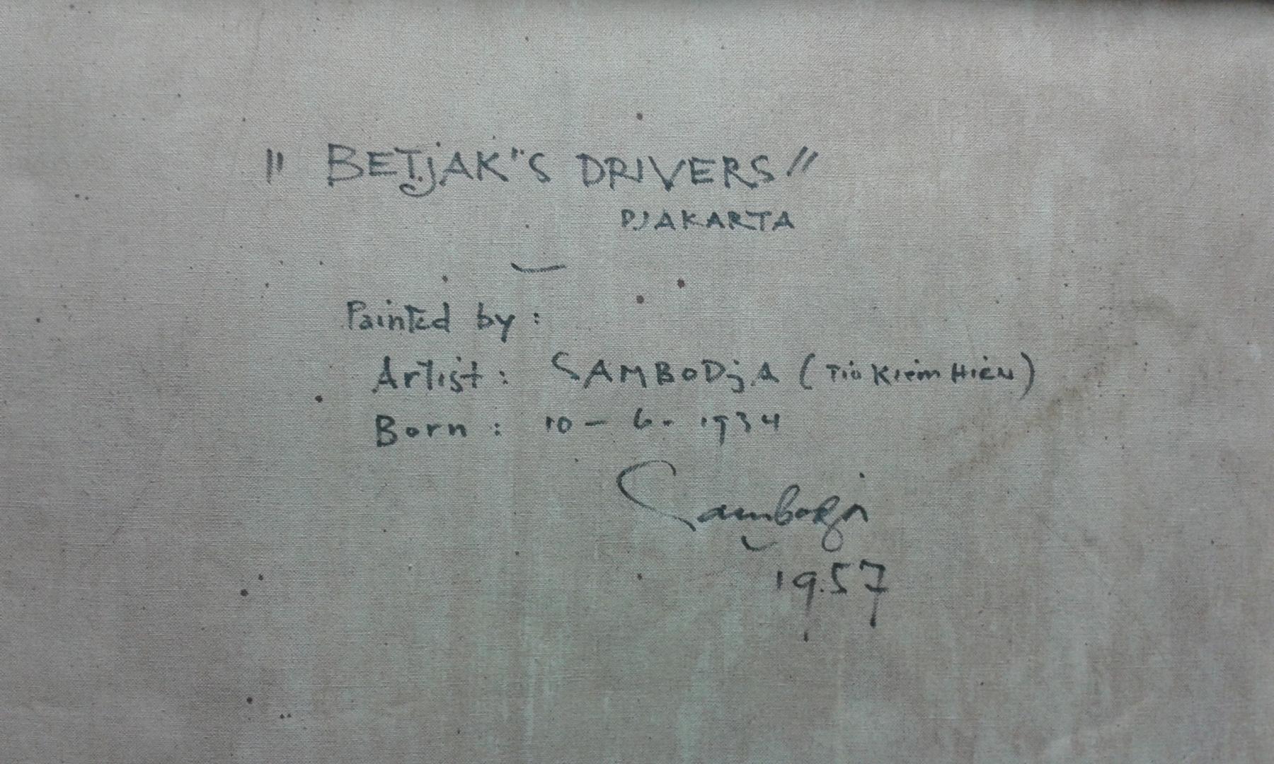 Sambodja- Betjak's drivers Djakarta verso details
