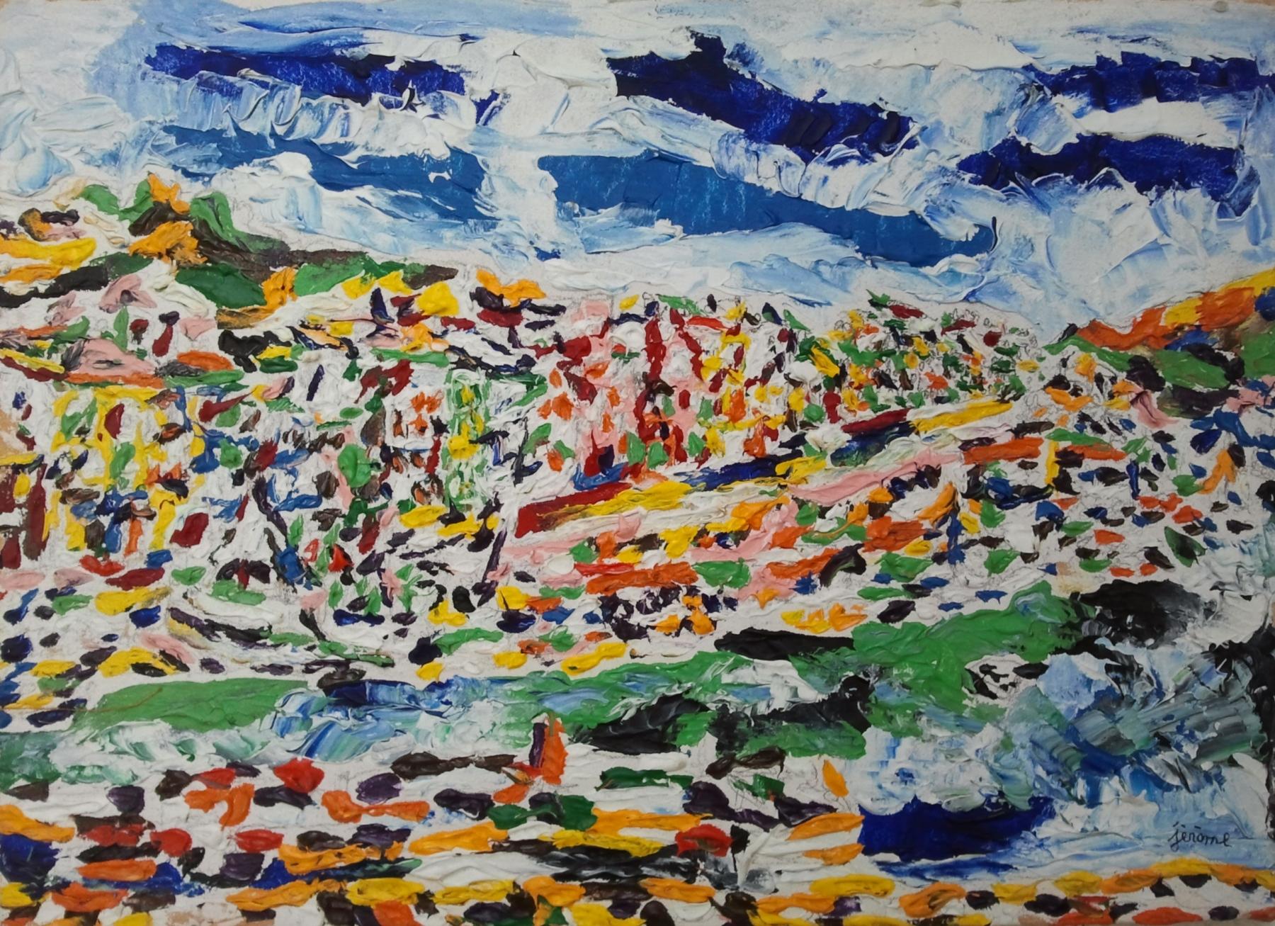 pezzillo jérome paysage multicolore avec bandes de ciel