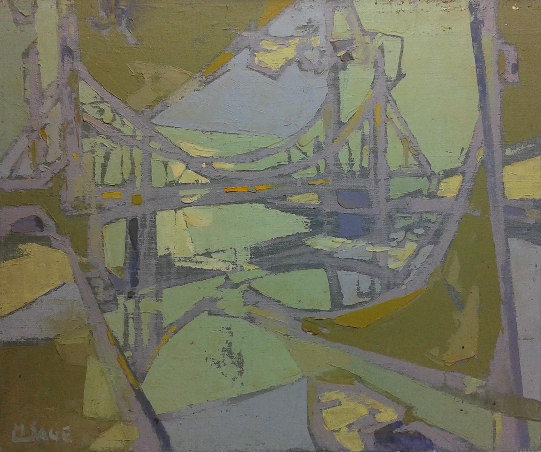 Kluge michel paysage marin au pont et voilier