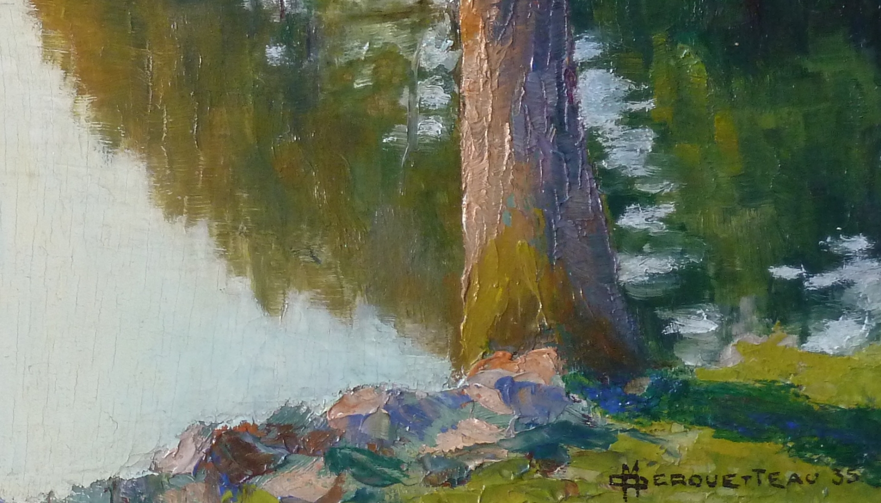 Derouetteau-maurice-paysage-a-l-etang-signature