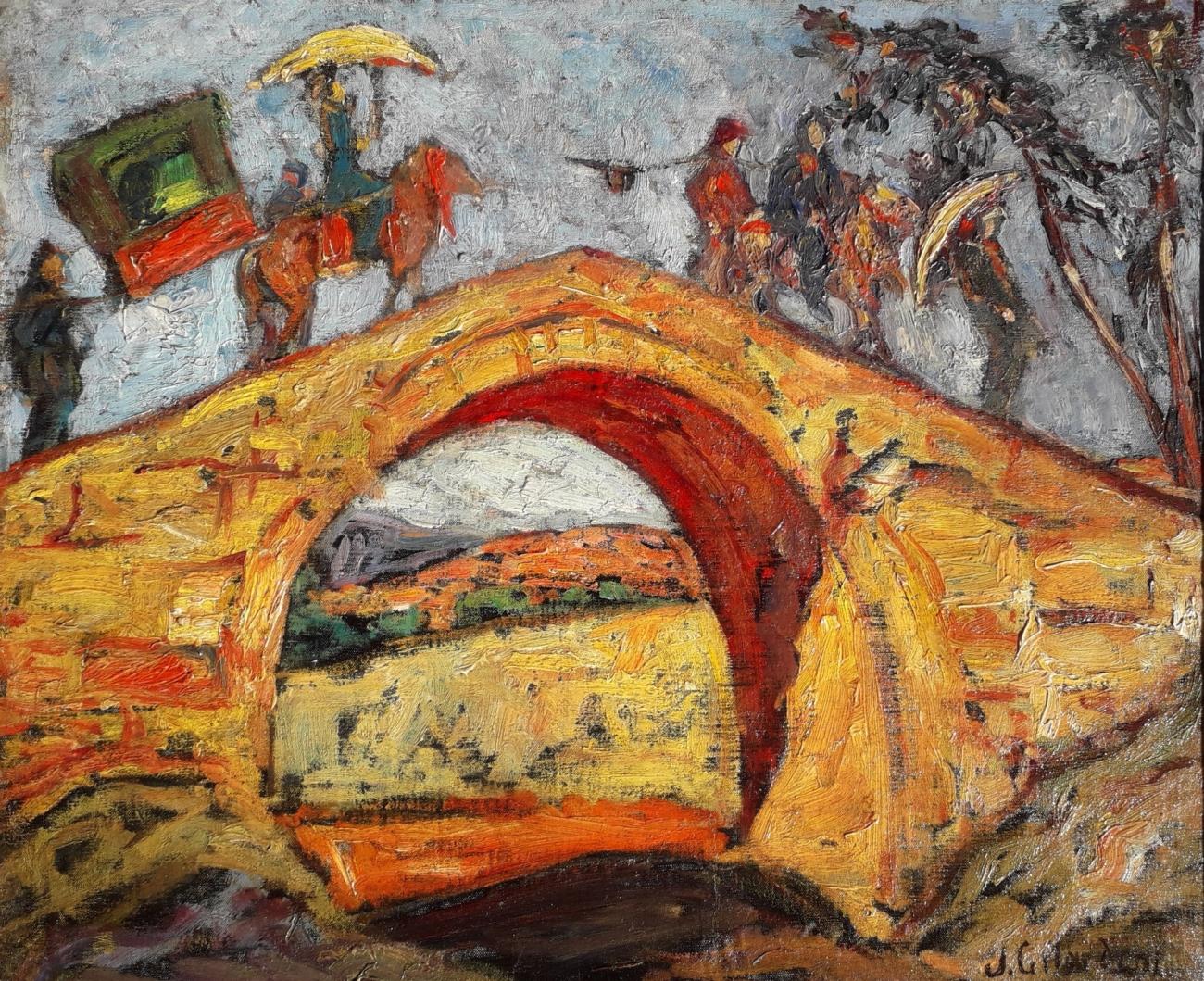 Joseph Gilardoni Indochine, palanquin et son escorte sur un pont