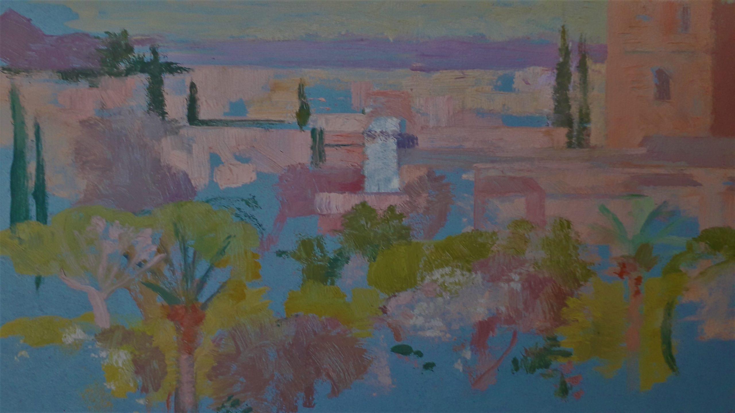 Gerard-Maud-vue-Koutoubia-Marrakech-hotel-Mamounia-1969-detail1
