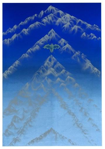 L'ère du ciel. Sérigraphie et crayons de couleurs. 50X70cm