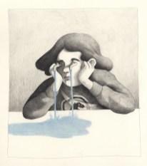 Elle fond en larmes. Pastel et crayon. 21X27cm
