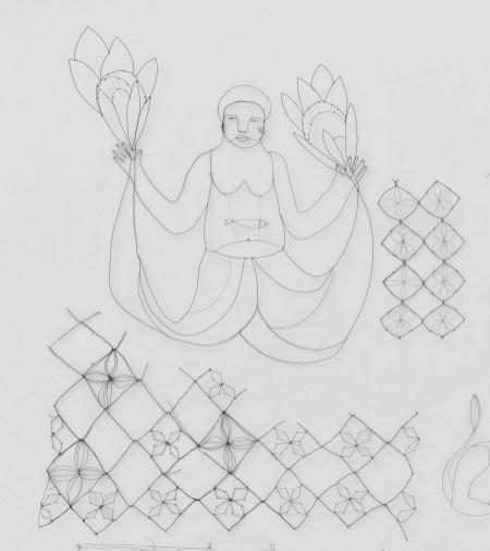 Sirène fleurs. Fil métallique. 64X57 cm