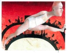 Wer list, ist. Peinture à l'huile sur papier et collage. 25x18cm. 550 euros