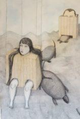 Amours volatiles. crayon et gesso sur papier. 100x146cm