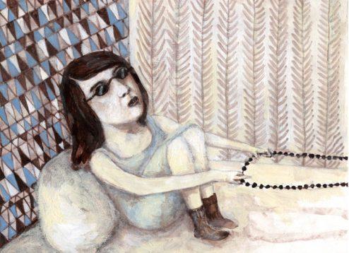 La Dame au collier de perles (1) Acrylique. 26x19cm. 180 euros