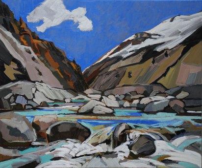2010, Dekkers, Torrent des Glaciers, huile sur toile, 100x120 cm, Disponible à la Réserve