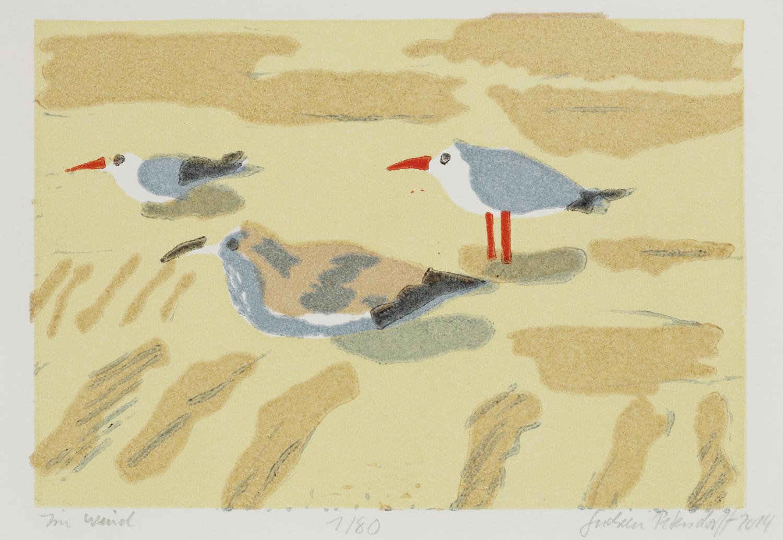 2014, Petersdorff, Im Wind, Gravure sur bois, 12x18 cm, Disponible à la réserve de la galerie