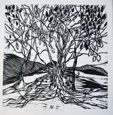 2012, Granier, Coeur de tryptique, Gravure sur bois, 35x35 cm, Disponible à la réserve de la galerie