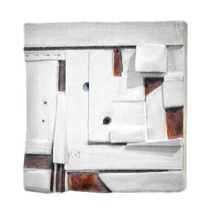 Lena Franolić - Fragmenti vremena / Fragments of Time / Fragmente der Zeit 2009 ((reljef - drvo, kit za drvo, akril, vosak / relief - wood, putty, acrylic, wood wax / Holzrelief, Holzkitt, Akryl, Holzwachspolitur)