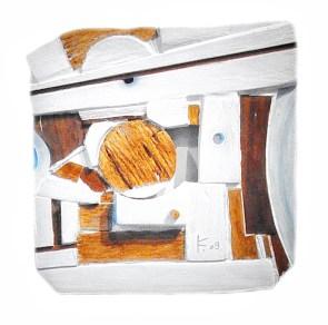 Lena Franolić - Fragmenti vremena / Fragments of Time / Fragmente der Zeit 2009 (reljef - drvo, kit za drvo, akril, vosak / relief - wood, putty, acrylic, wood wax / Holzrelief, Holzkitt, Akryl, Holzwachspolitur)